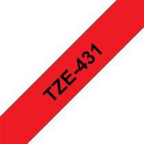 """BROTHER szalag TZe-431, Piros alapon Fekete, Laminált, 12mm  0.47"""", 8 méter"""
