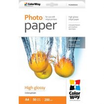 COLORWAY Fotópapír, magasfényű (high glossy), 200 g/m2, A4, 50 lap