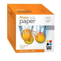COLORWAY Fotópapír, magasfényű (high glossy), 200 g/m2, 10x15, 500 lap
