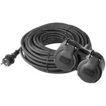Emos P0704 hosszabbító gumikábellel, 25M, fekete