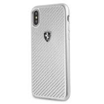 Ferrari Heritage iPhone X/XS ezüst kemény/valódi karbon tok