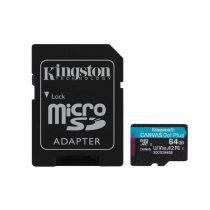 Kingston 64GB SD micro Canvas Go! Plus (SDXC Class 10  UHS-I U3) (SDCG3/64GB) memória kártya adapterrel