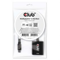 CLUB3D Mini Displayport - D-Sub fekete aktív adapter
