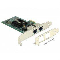 DELOCK PCI-E x1 Vezetékes hálózati Adapter, 2x Gigabit LAN i82576