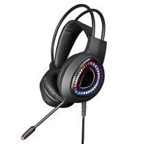 OMEGA sztereó gaming fejhallgató, VARR, USB, 7.1 térhatású hangzás, RGB, fekete