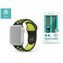Devia ST325007 Apple Watch fekete/sárga szilikon sport óraszíj